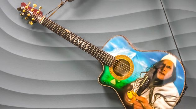 Handmade by a Colombian luthier and featuring the airbrushed portrait of an Arhuaco, this guitar was recently donated to the Smithsonian's National Museum of American History by Colombian vallenato singer Carlos Vives.