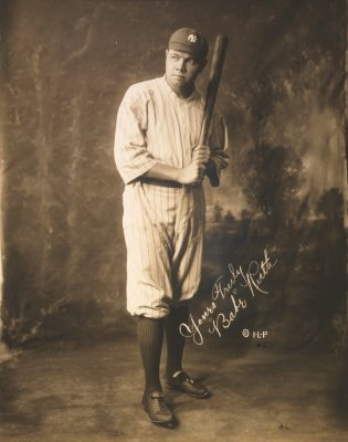 Babe Ruth in Yankee's Uniform, gelatin silver print by Irwin, La Broad, and Pudlin c. 1920 (Prints & Photographs Division, Library of Congress, Washington, D.C.0