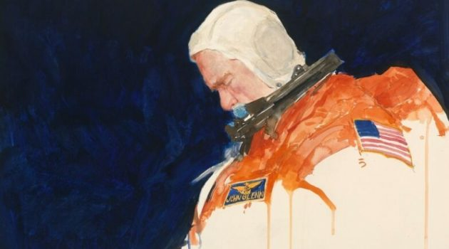 Astronaut and U.S. Senator John Glenn, 1998 watercolor and graphite portrait by Henry C. Caselli Jr., National Portrait Gallery