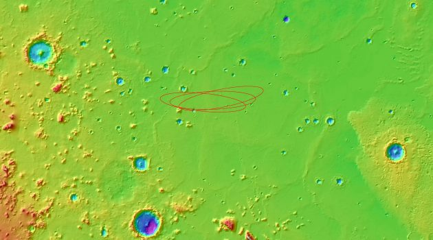 The red ellipses in this map of Mars' Elysium Planitia represent the region in which the Mars InSight lander is expected to touch down. Warm colors indicate areas of higher elevation, while the cool blues and greens represent areas of lower elevation. There are roughly 2.5 miles of difference in elevation between the highest and lowest points, and very little variation in elevation in the area where InSight will land. (Image courtesy Gareth Morgan, CEPS)