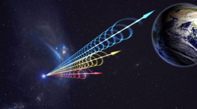 Artist impression of a Fast Radio Burst (FRB) reaching Earth. The colors represent the burst arriving at different radio wavelengths, with long wavelengths (red) arriving several seconds after short wavelengths (blue). This delay is called dispersion and occurs when radio waves travel through cosmic plasma. (Image by Jingchuan Yu, Beijing Planetarium / NRAO)