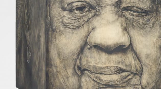 "Caja de Memoria Viva II: Constancia Clemente-Colon by Adrian ""Viajero"" Roman, charcoal on wood, audio recording, mixed media and artifacts,  2013. National Portrait Gallery, Smithsonian Institution.  Collection of the artist ©Adrian Roman."