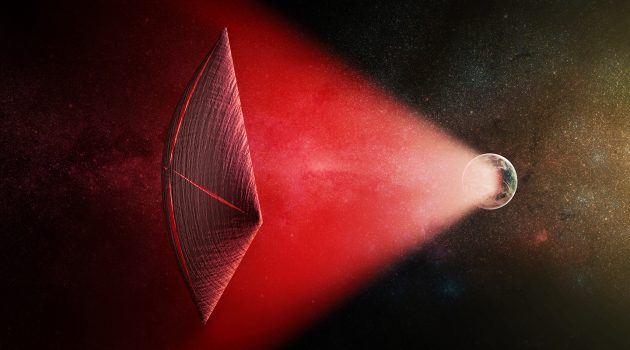 An artist's illustration of a light-sail powered by a radio beam (red) generated on the surface of a planet. The leakage from such beams as they sweep across the sky would appear as Fast Radio Bursts (FRBs), similar to the new population of sources that was discovered recently at cosmological distances. (Image: M. Weiss/CfA)