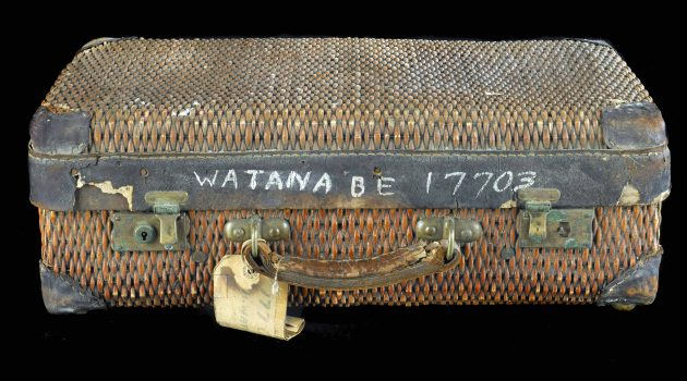 Evacuees were allowed to bring only what they could carry. The Watanabe family brought this wicker suitcase with them to the Minidoka camp in Idaho.