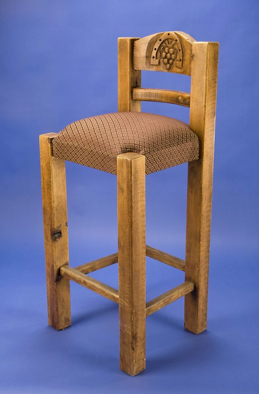 High wooden chair with upholstered seat