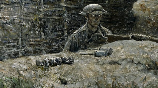 """The Sentry"" by Harvey Dunn   1918 oil painting (Film Size/Type: , Primary Object ID: )"