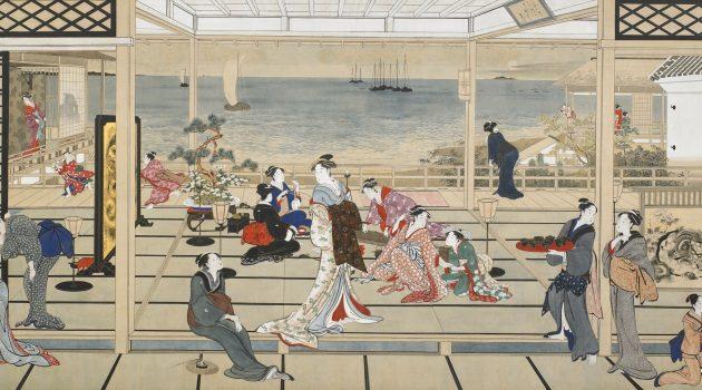 """""""Moon at Shinagawa"""" (""""Moonlight Revelry at Dozō Sagami"""");  Kitagawa Utamaro; Freer Gallery of Art, Gift of Charles Lang Freer"""