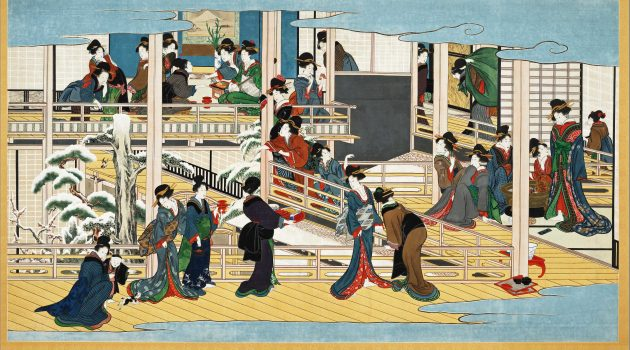 """Snow at Fukagawa,"" Kitagawa Utamaro (1753–1806) Japan, Edo period, ca. 1802–6. Hanging scroll; color on paper (Okada Museum of Art Hakone, Japan)"