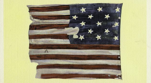 A 1934 postcard of the original Star-Spangled Banner which at the time was hanging in the United States National Museum, now the Arts and Industries Building. (Smithsonian Archives image)
