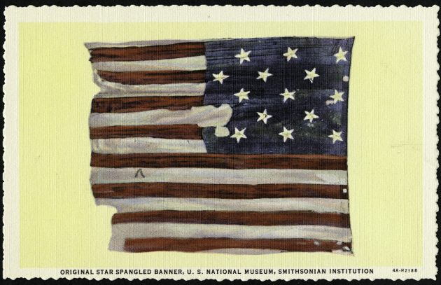 6eee11f7fb2 post card. A 1934 postcard of the original Star-Spangled Banner which at  the time was hanging in the United States National Museum