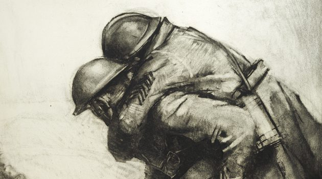 """Helping a Wounded Ally,"" Harry Everett Townsend, charcoal on paper, 1918 Smithsonian's National Museum of American History"