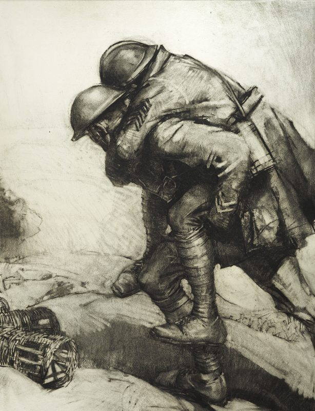 drawing of soldier carrying a wounded soldier on his back.