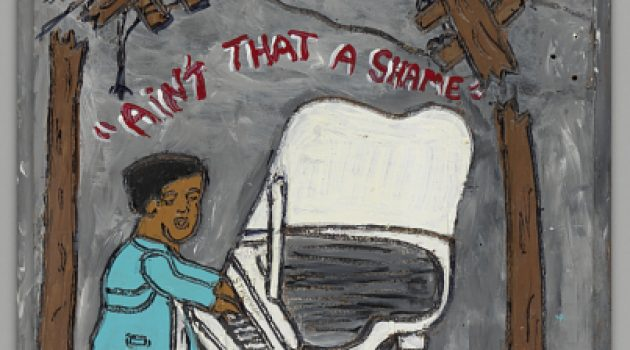 This acrylic painting over carving on a wood board by Charles Gillam Sr., depicts Fats Domino playing the piano on the roof of his flooded New Orleans studio during the devastation of Hurricane Katrina in August 2005. It is in the collection of the Smithsonian's National Museum of African American History and Culture. (Click image for more information)