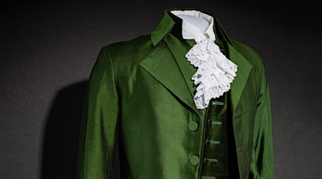 "Costume designer Paul Tazewell designed this suit, worn by Lin-Manuel Miranda as Alexander Hamilton in the second act of the play ""Hamilton: An American Musical."" In 2016, Tazewell won a Tony for Best Costume Design in a Musical for the play.  (Courtesy of the Smithsonian's National Museum of American History)"