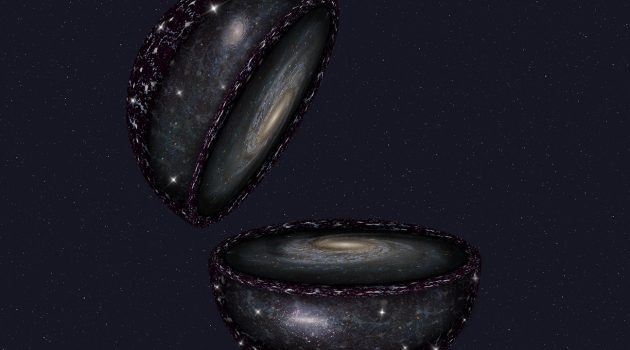 This artist's impression shows a cutaway view of the parts of the universe that SDSS-V will study. SDSS-V will study millions of stars to create a map of the entire Milky Way. Farther out, the survey will get the most detailed view yet of the largest nearby galaxies like Andromeda in the Northern hemisphere and the Large Magellanic Cloud in the Southern hemisphere. Even farther out, the survey will measure quasars, bright points of light powered by matter falling into giant black holes.