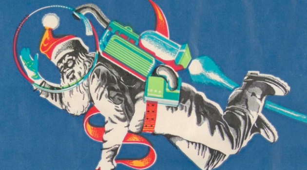"A holiday shopping bag showing Santa, dressed in space suit, flying over earth. Right side panel reads: ""Christmas At the Dawn of a New Decade,"" in electronic type. Paper with white raffia handles, designed by Bob Alcorn. )From the collection of the Cooper Hewitt, Smithsonian Design Museum)"
