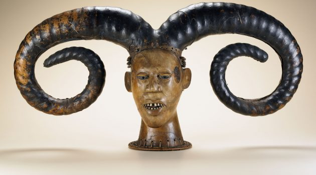 Efik peoples; Nigeria; Early 20th century; Wood, skin, plant fiber, bone, dye; H x W x D: 41.5 x 85.5 x 22.3 cm (16 5/16 x 33 11/16 x 8 3/4 in.); Gift of Walt Disney World Co., a subsidiary of The Walt Disney Company