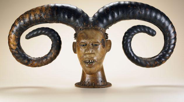 Efik peoples; Nigeria; Early 20th century; Wood, skin, plant fiber, bone, dye; H x W x D: 41.5 x 85.5 x 22.3 cm (16 5/16 x 33 11/16 x 8 3/4 in.); Gift of Walt Disney World Co., a subsidiary of The Walt Disney Company
