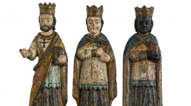 Wooden figurines depicting the Three Kings. Crafted around 1900 by a member of the Rivera family in the town of Morovis, Puerto Rico. (Courtesy of the National Museum of American History)