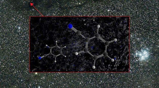 The aromatic molecule benzonitrile was detected by the GBT in the Taurus Molecular Cloud 1 (TMC-1). (Image by B. McGuire, B. Saxton, NRAO/AUI/NSF)