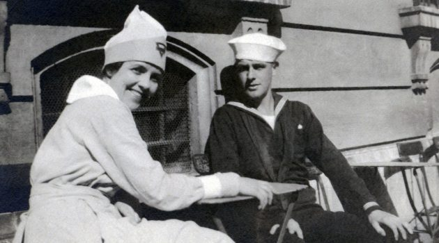 YMCA Worker Ethel Ash with Unidentified Sailor in France, 1919 Ethel Ash Collection, Gift of Sarah (Ash) Albert, Women's Memorial Foundation Collection