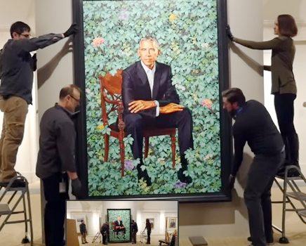 Installation of the Obama portraits