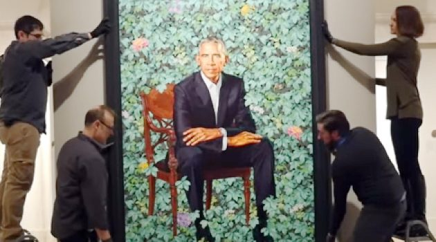 Installation of the Obama portraits
