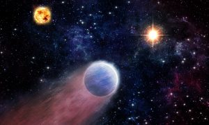 This artist's impression shows the atmosphere of a Neptune-like planet (foreground) being swept backwards by powerful radiation from an outburst in the center of the Milky Way Galaxy (right). The outburst of X-rays and ultraviolet light is produced by material falling towards the supermassive black hole located there. The planet's host star is shown on the left. (Image courtesy M. Weiss/CfA)