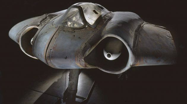 The Horten Ho 229 at the National Air and Space Museum's Steven F. Udvar-Hazy Center. It is one of the most unusual combat aircraft tested during World War II.