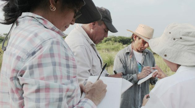 Pérez Báez at work during a visit to the  Zapotec community of La Ventosa, Mexico, with a team of other researchers. The group was conducting  a collaborative and participatory project to document the lexicon and cultural knowledge associated with the flora of the town.