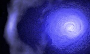 "A gigantic and resilient ""cold front"" is hurtling through the Perseus galaxy cluster according to data from Chandra & other X-ray observatories. This cosmic weather system spans about two million light years and has been traveling for over 5 billion years, longer than the existence of our Solar System. This image shows the cold front in the Perseus cluster where X-ray data from Chandra – for regions close to the center of the cluster – have been combined with data from the XMM-Newton and ROSAT satellites for regions farther out. The Chandra data have been specially processed to brighten the contrast of edges to make subtle details more obvious. (Image courtesy NASA/CXC/GSFC/S. Walker, ESA/XMM, ROSAT)"