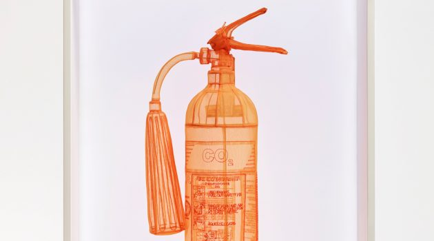Do Ho Suh, Fire Extinguisher, Unit G5, 23 Wenlock Road, Union Wharf, London, N1 7SB UK, 2016. Polyester fabric, stainless steel armature and display case with LED lighting. Collection of Peter H. Kahng ©Do Ho Suh. Courtesy the artist and Lehmann Maupin, New York and Hong Kong. Photo by Taegsu Jeon  (Courtesy of the Smithsonian American Art Museum)
