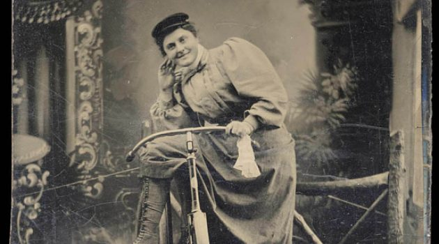 Bicycle tintype 2: Cyclists across the country proudly posed with their wheels. In doing so, they declared their embrace—and mastery—of the new technology. For many, a bicycle portrait was also a kind of declaration of independence. 1890s tintype (National Museum of American History)