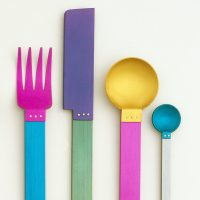 Signature Collection: Picnic Flatware Place Setting (New York, New York, USA), 1986; Designed by David Tisdale (American, b. 1956); Anodized aluminum; Knife: 20.5 x 2.4 x 0.5 cm (8 1/16 x 15/16 x 3/16 in.); Museum purchase from Eleanor G. Hewitt Fund, 1986-94-1/3,10; Photo: © Smithsonian Institution