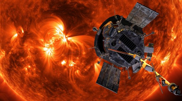 An artistic rendering of the Parker Solar Probe in the sun's corona. (Image courtesy NASA / Johns Hopkins)