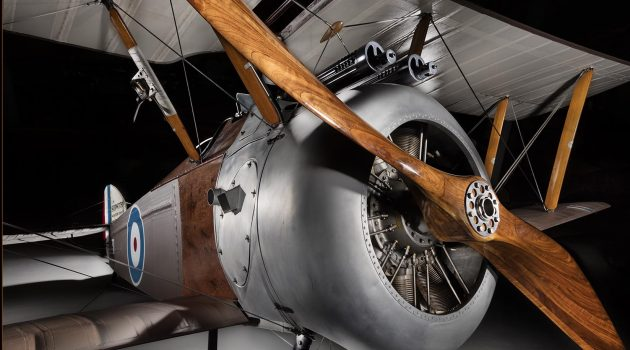 WWI Sopwith Camel fighter donated by Javier Arango on exhibit at the National Air and Space Museum's Steven F. Udvar-Hazy Center.