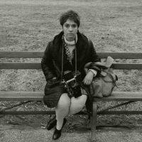 John Gossage, Diane Arbus in Washington Square Park, NYC, 1967, gelatin silver print, 20 x 24 in. Private Collection. (Photo copyright John Gossage)